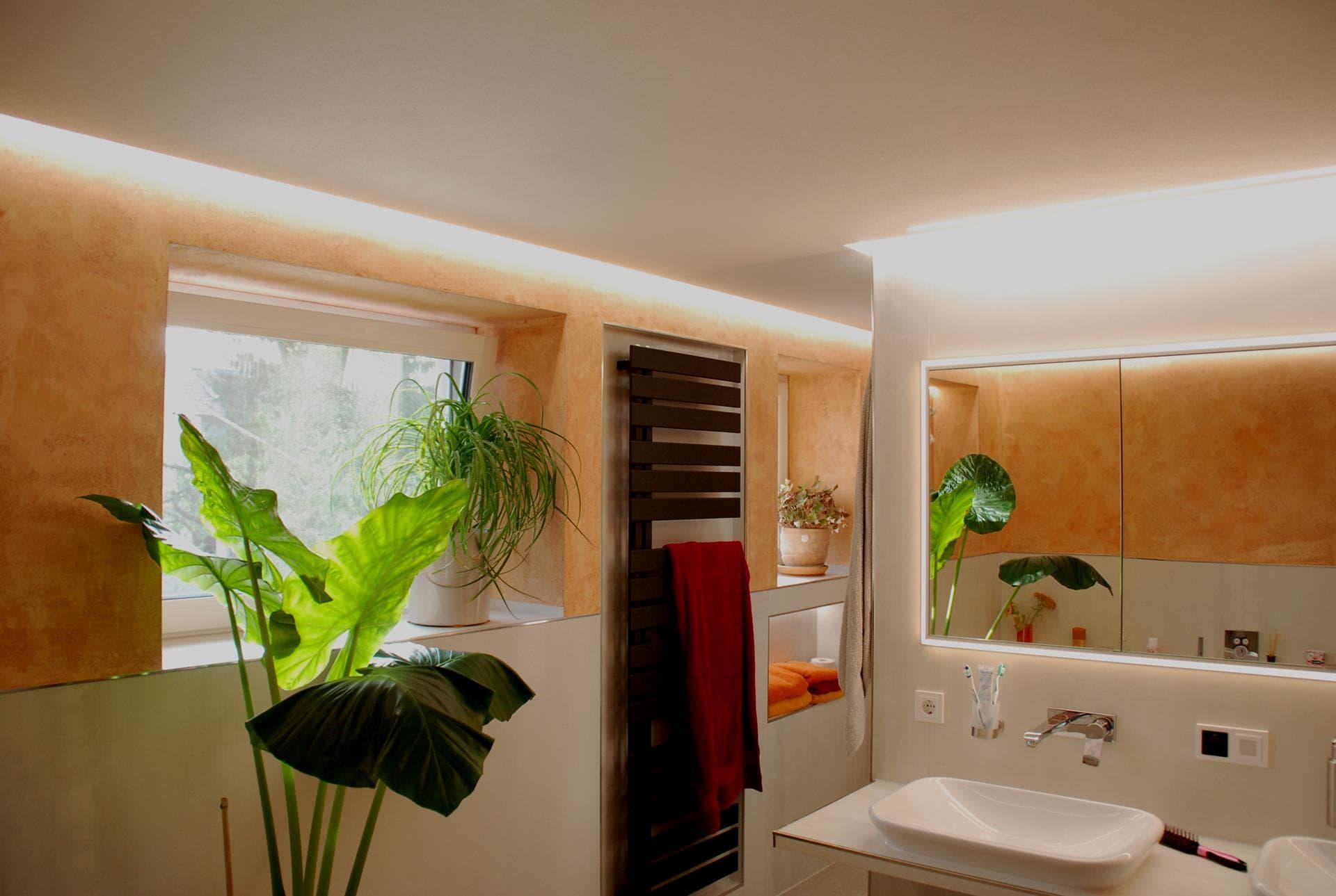 kalkputz im bad mit led beleuchtung der gestaltungsmaler. Black Bedroom Furniture Sets. Home Design Ideas