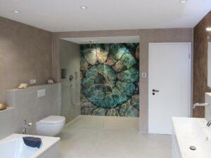 Wandgestaltung mit Tapeten im Badezimmer Glamora Tapeten - die alternative zu Fliesen