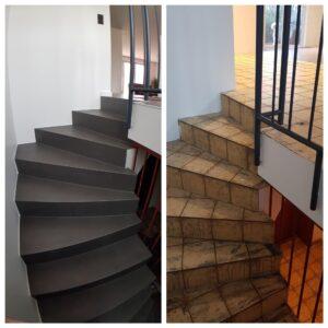 Alte Treppe einfach fugenlos auf Fliesen gespachtelt in Betonoptik
